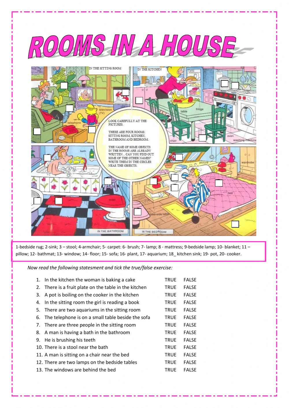 Rooms In A House Interactive Worksheet