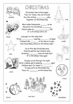 Christmas poem worksheet preview