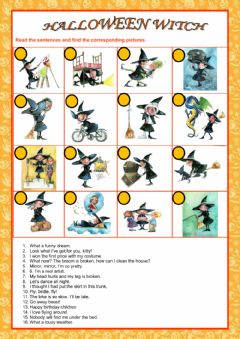 Interactive worksheet Halloweeen Witch