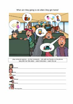 Interactive worksheet What are they going to do when they get home?