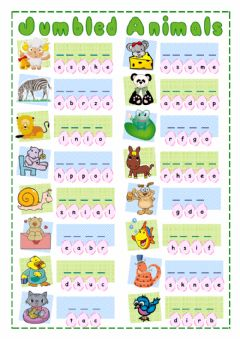 Interactive worksheet Jumbled Animals