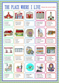 Interactive worksheet The place where I live (multiple choice)