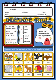 The indefinite article worksheet preview