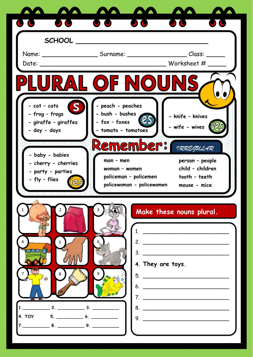 Workbooks plural rules worksheets : Plural of nouns - Interactive worksheet