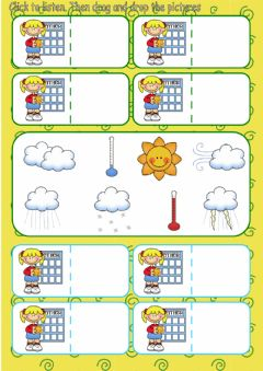 Interactive worksheet The weather: listen, drag and drop