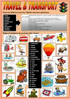 Travel and transport worksheet preview