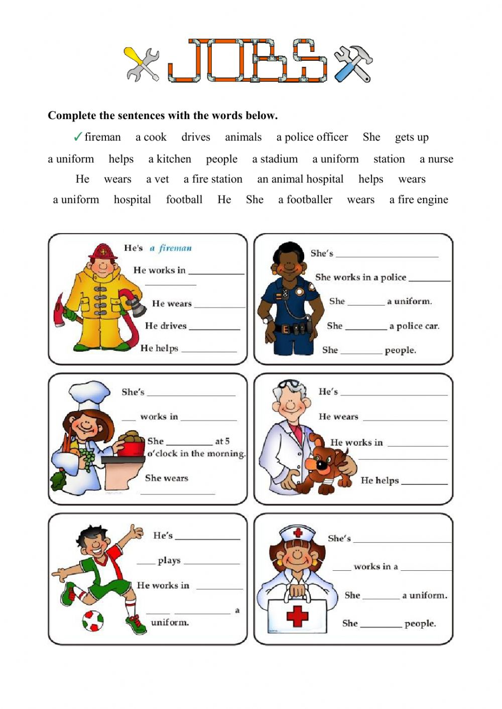 Jobs - Fill in the gaps - Interactive worksheet