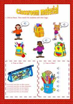 Classroom material worksheet preview