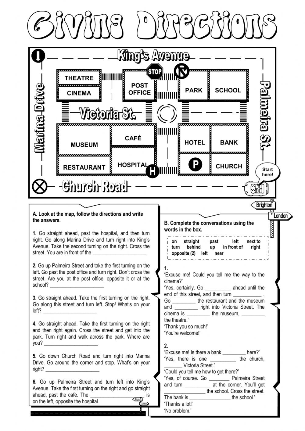 Giving directions Interactive worksheet – Directions Worksheet
