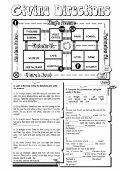 Giving directions worksheet preview