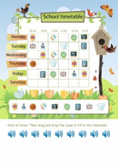 Interactive worksheet My school timetable