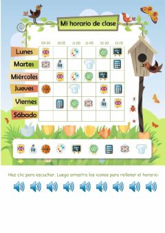 Interactive worksheet Mi horario de clase