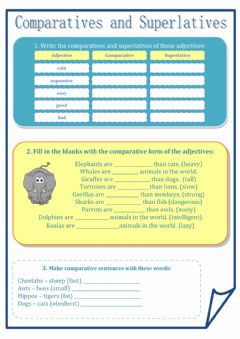 Comparatives and superlatives worksheet preview