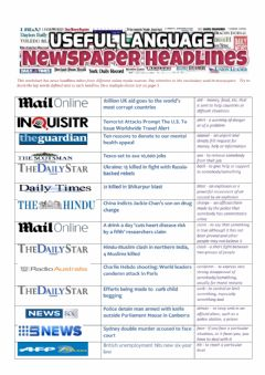 NEWSPAPER HEADLINES - Useful Language worksheet preview