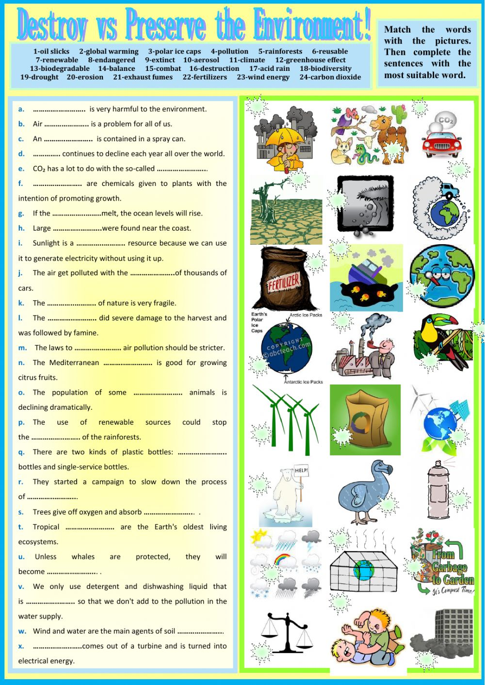 worksheet Air Pollution Worksheet destroy vs preserve the environment interactive worksheet