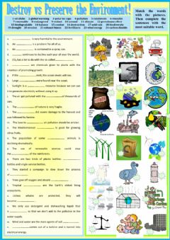 Interactive worksheet Destroy vs Preserve the Environment