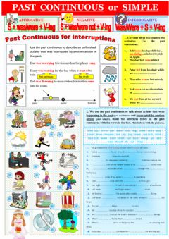 Ficha interactiva Grammar Rules: Past Continuous vs Past Simple