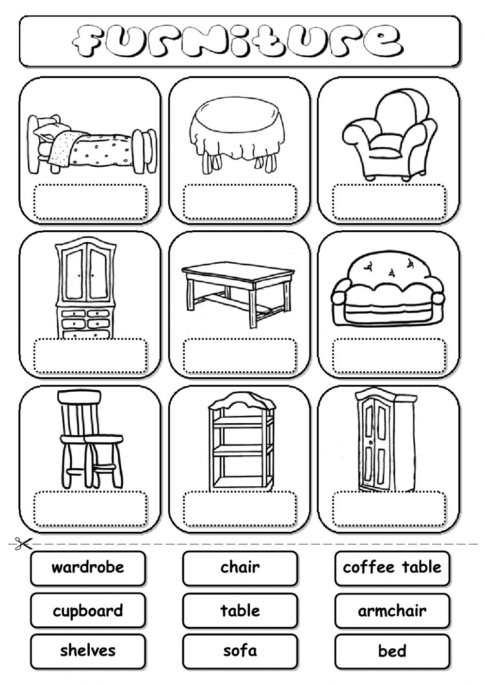Printable Worksheets Home : Furniture drag and drop interactive worksheet