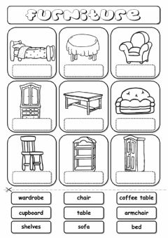 Interactive worksheet Furniture (drag and drop)