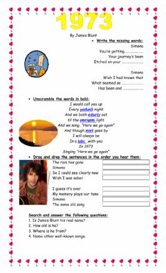 Interactive worksheet James Blunt: 1973