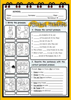 Personal Pronouns worksheet preview