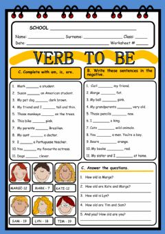Verb to be worksheet preview
