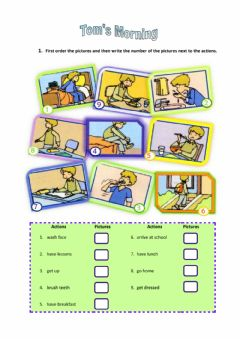 Interactive worksheet Tom's Morning