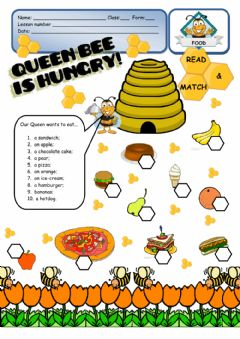 Interactive worksheet FOOD - Queen Bee is hungry!