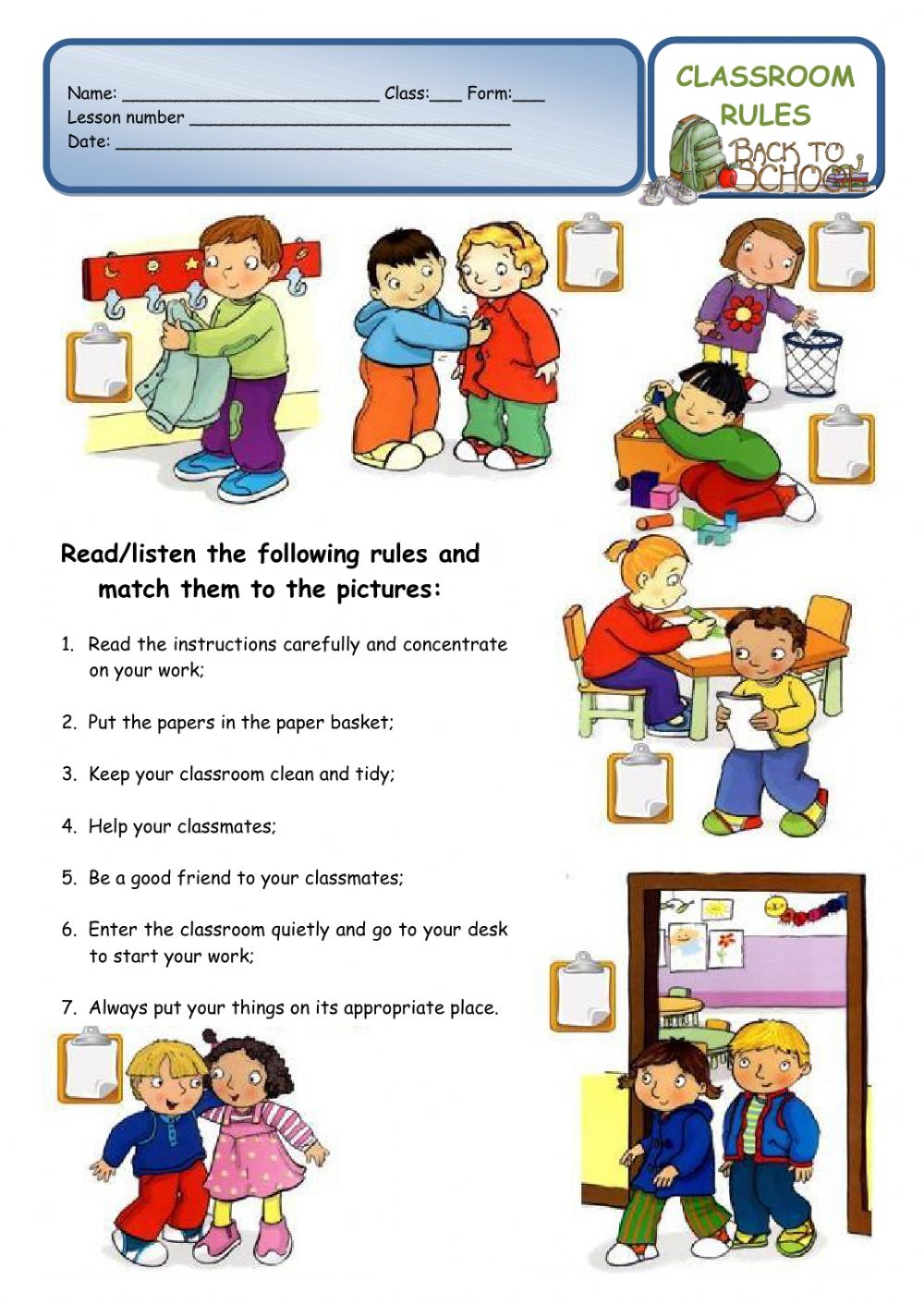 CLASSROOM RULES - a back to school worksheet