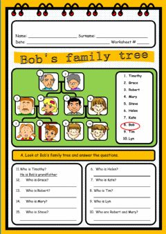 Bob's Family Tree worksheet preview