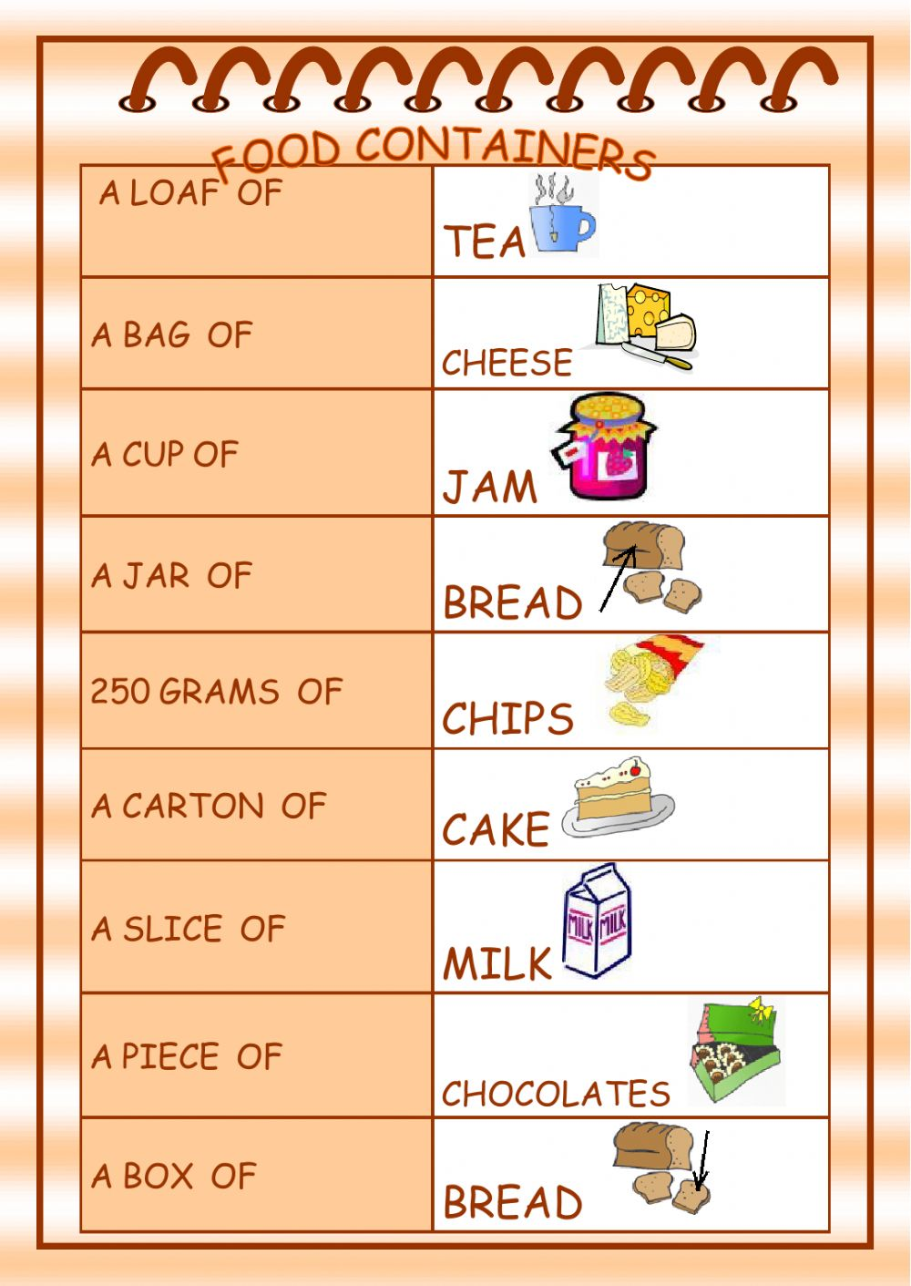 Food Containers - Interactive worksheet