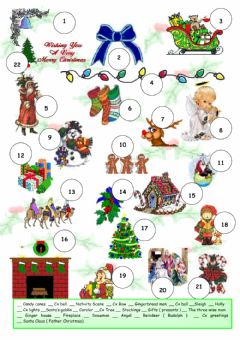 Interactive worksheet Christmas pictionary