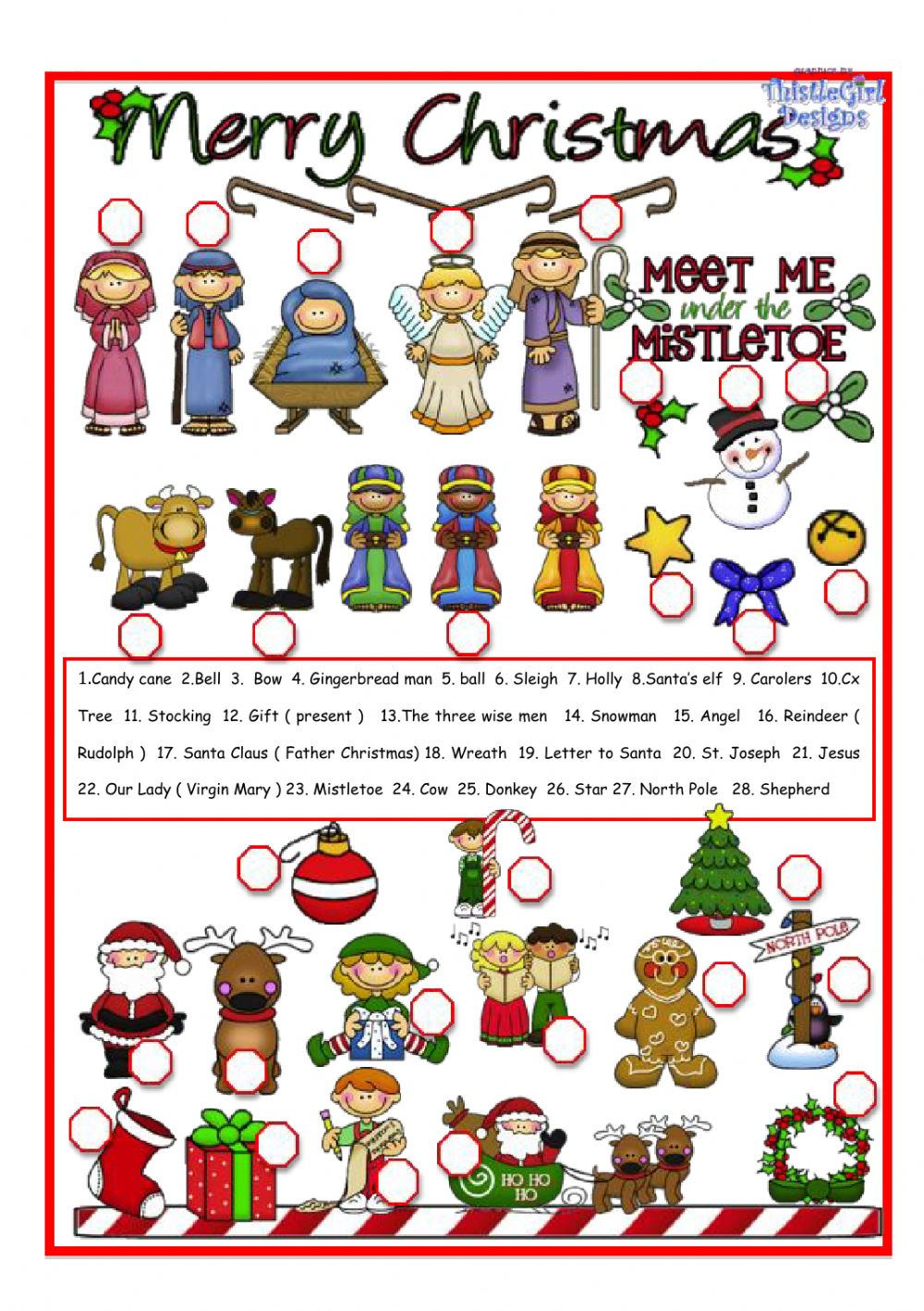 - Christmas Pictionary: Christmas Worksheet