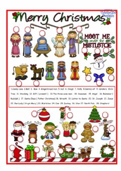 Christmas pictionary worksheet preview