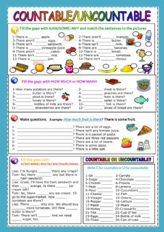 Countable - Uncountable nouns worksheet preview