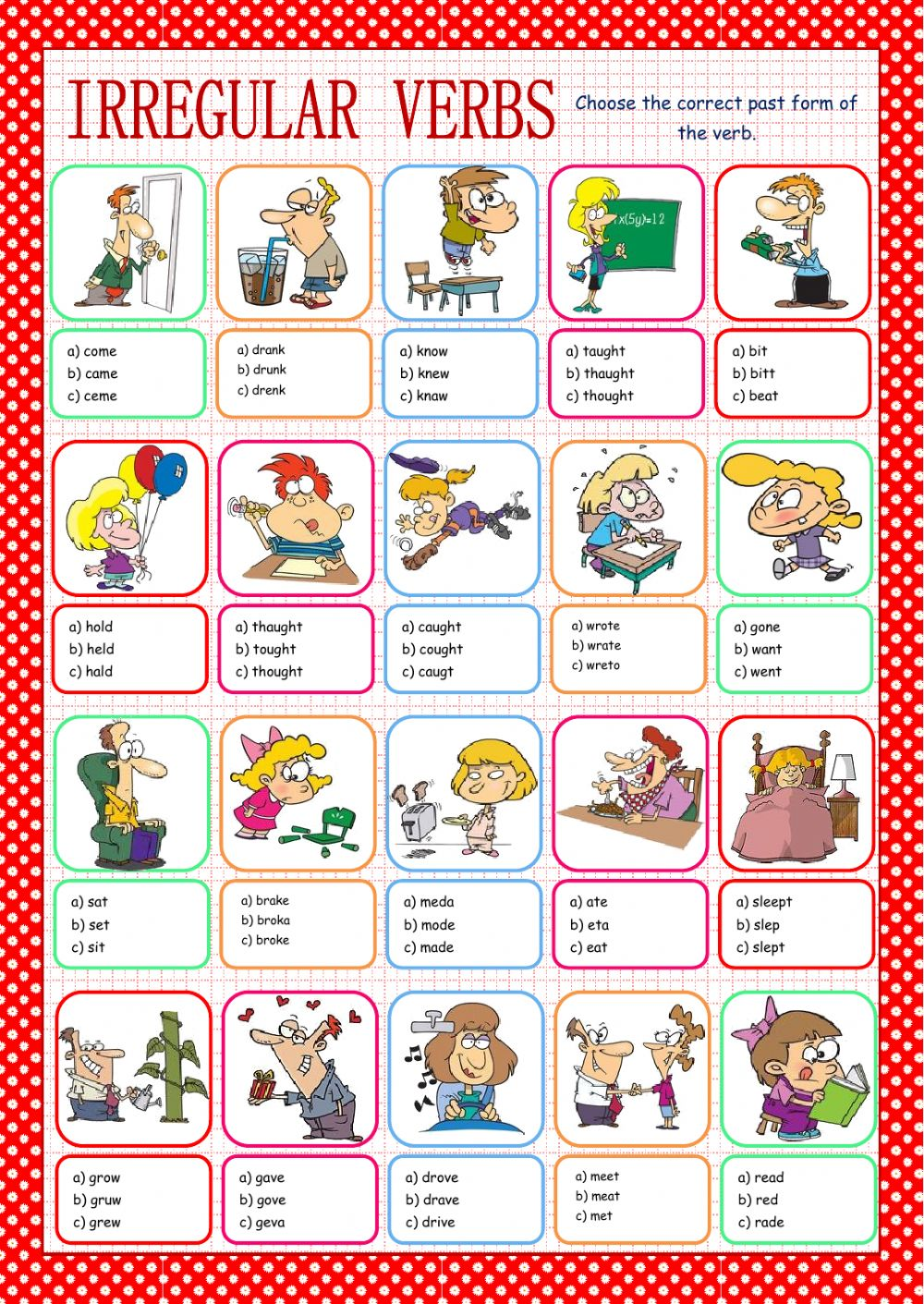 Irregular verbs Interactive worksheet