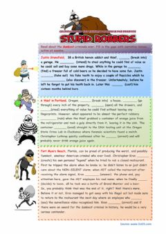 Dumb Criminals -  A narrative tenses practice worksheet preview