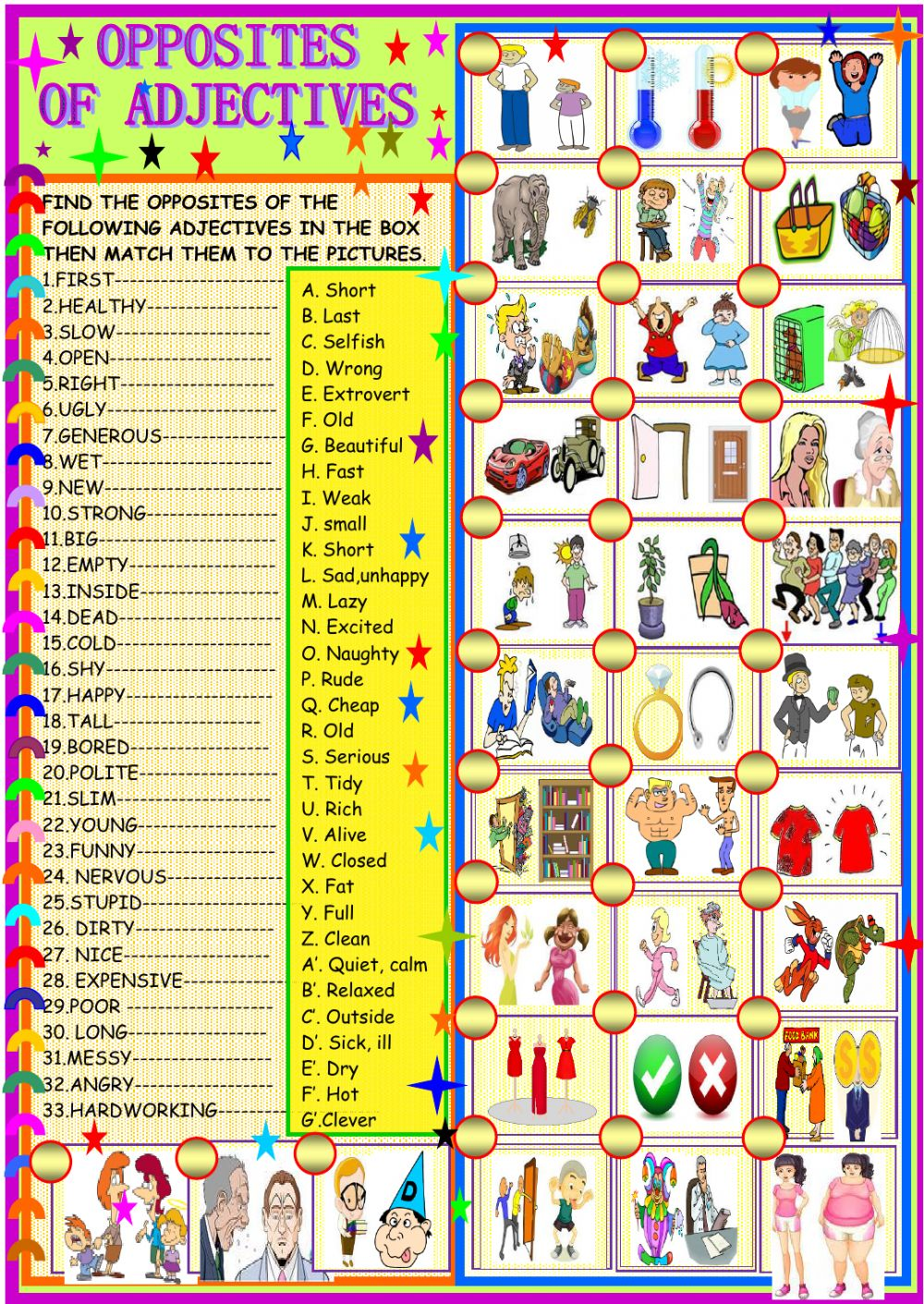 Opposites Of Adjectives Interactive Worksheet