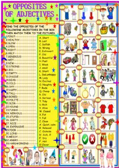 Interactive worksheet opposites of adjectives