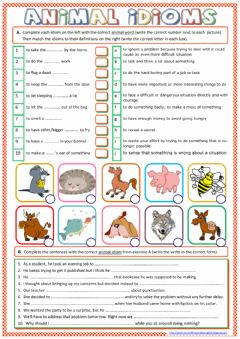 Interactive worksheet Animal Idioms