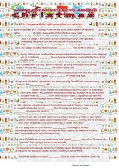Interactive worksheet Christmas facts - multiple choice