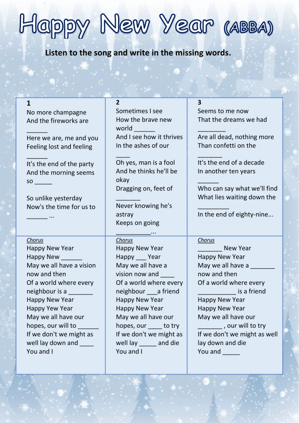 HAPPY NEW YEAR (ABBA) - Interactive worksheet