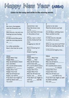 HAPPY NEW YEAR (ABBA) worksheet preview