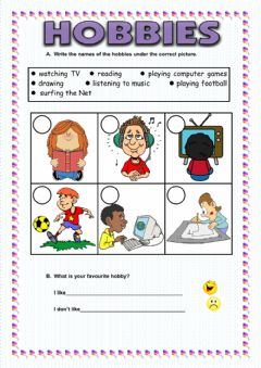 Hobbies worksheet preview