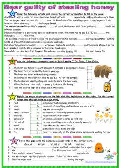 Bear guilty of stealing honey worksheet preview