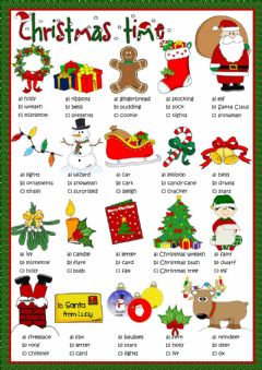 Christmas time - multiple choice worksheet preview