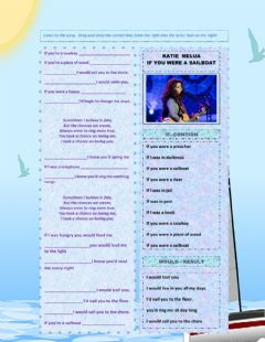 Interactive worksheet Drag and Drop - If you were a sailboat - Katie Melua