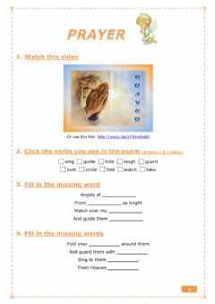 Interactive worksheet Prayer