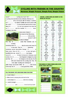 Cycling with friends in the country worksheet preview