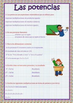 Interactive worksheet Las potencias